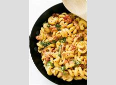 creamy basil and sun dried tomato vegan pasta_image