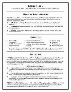medical receptionist resume sle monster com