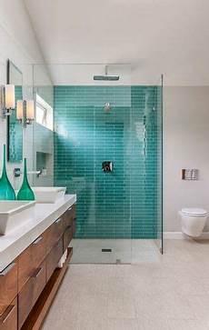 Aquamarine Bathroom Ideas by Aquamarine Teal Subway Tiles Walk In Shower In 2019