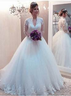 princess wedding gown with long sleeves high neck bridal
