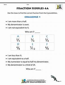 fractions word problems worksheets 4th grade 11454 free printable fraction worksheets fraction riddles harder
