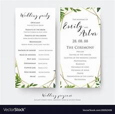 wedding ceremony and party program card design vector image