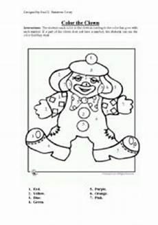 clown color in esl worksheet by paulg