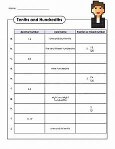 decimal hundredths worksheet 7154 decimals and fractions tenths and hundredths fractions math fractions fourth grade math