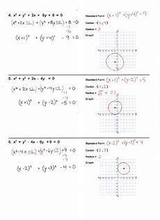 conic sections circles worksheet standard form graph by lisa tarman