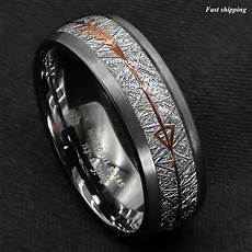 8 6mm rock gray brushed dome tungsten ring silver rose gold arrow atop jewelry ebay