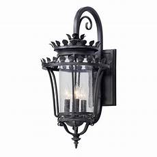 troy lighting greystone 4 light forged iron outdoor wall lantern sconce b5133 the home depot