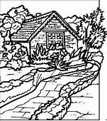 Scenic Coloring Pages  Log Cabin In Woods Page