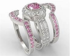 pink diamond wedding ring sets filligree pink sapphire diamond trio wedding ring unique ring ebay