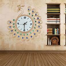 clocks home decor large peacock wall clock decor modern living room gold