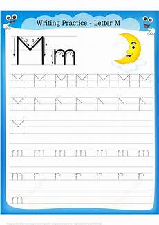 letter m handwriting worksheets 24300 letter m is for moon handwriting practice worksheet free printable puzzle