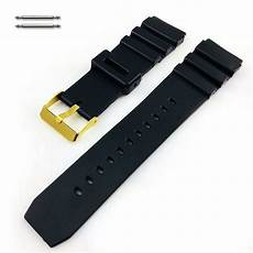 Replacement Rubber Band Without Buckle by Tissot Compatible Black Rubber Silicone Diver S Style