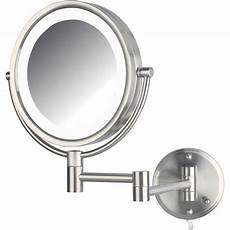 jerdon hl88nl 8 5 quot led lighted wall makeup mirror with 8x magnification nickel finish