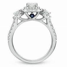 vera wang love collection 1 1 2 ct t w oval diamond three stone engagement ring in 14k white