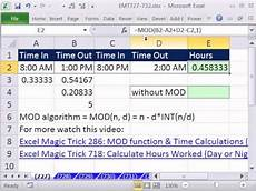 excel magic trick 727 calculate hours worked or day