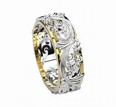 milgrain unique wedding band engraved ring flower band
