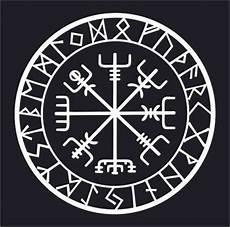 viking protection runes vegvisir compass talisman white vinyl