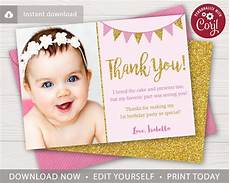 thank you card template baby birthday pink and gold birthday thank you card with photo puggy