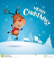 merry christmas rudolph reindeer feeling excited stock vector illustration of celebration