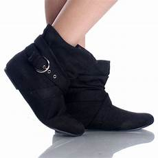 black suede buckle slouch bootie casual dress flat