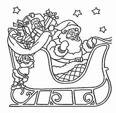 santa claus on sleigh coloring pages for printable