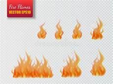 set of flames on transparent background vector