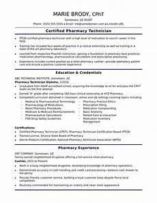 entry level pharmacy technician resume sle monster com