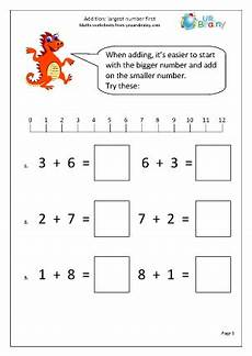 addition largest number first addition maths worksheets for year 1 age 5 6