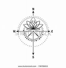 lotus flower inside compass vector illustration sacred geometry symbol of wisdom love travel