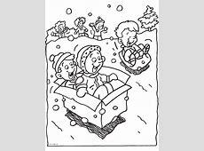 Kleurplaat Kinderen spelen in de sneeuw   Kleurplaten.nl