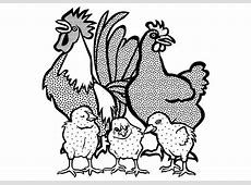 Kleurplaat haan, kip en kuikens. Gratis kleurplaten om te