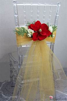 design your chairback s with stunning faux flowers and gold tulle fabric tulle wedding