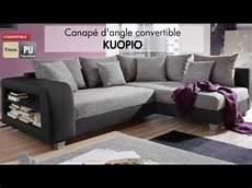 canap 233 d angle tissu convertible kuopio vente unique