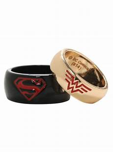 dc comics superman wonder woman his hers medium ring set hot topic wonder woman