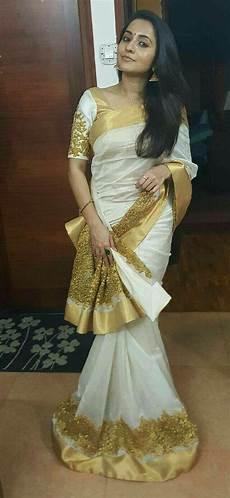 275 best traditional kerala style golden white saree blouse set saree saree dress kerala