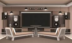 Home Cinema Interior With Table Vector Free