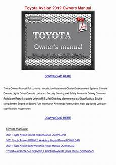 car service manuals pdf 2004 toyota camry instrument cluster toyota avalon 2012 owners manual by susannesingleton issuu