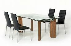 modern glass top extendible dining table with wooden legs