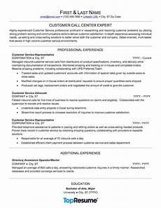 customer service call center resume sle