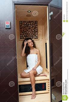 In Compact Sauna Stock Image Image Of Attractive