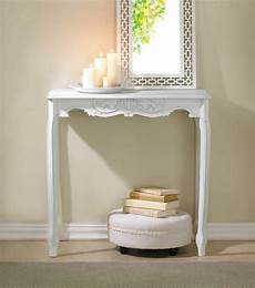 flur shabby chic white distressed scallop detail table elegance shabby