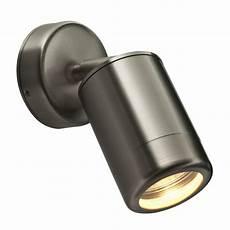 odyssey single spot light adjustable wall light ip65 brushed steel 163 46 08