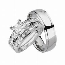 laraso co his and hers matching wedding ring sets sterling silver titanium bands for him her