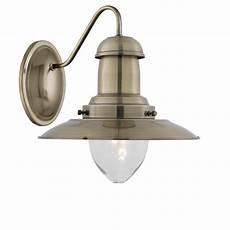 searchlight 5412ab fisherman brass wall light with clear glass shade
