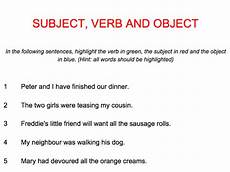 english subject verb object one page presentation plus