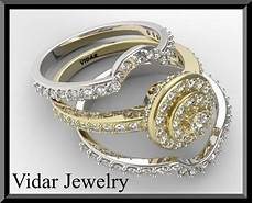 yellow and white gold diamond wedding ring two tone halo ebay