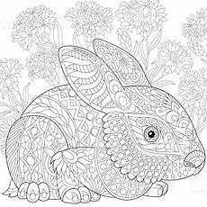 ausmalbild hase baby stylized baby rabbit and cornflowers freehand sketch for