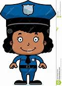 Cartoon Smiling Police Officer Girl Stock Vector