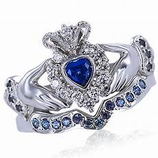 sapphire natural diamond bridal claddagh ring 14k