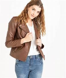 veste en cuir femme camel marron grain de malice